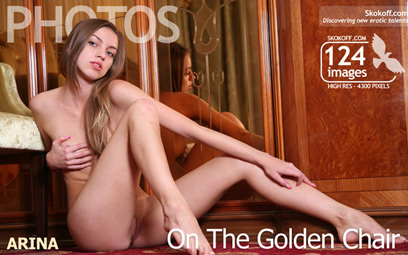 This adorable and curious doll loves to seat naked on her gold chair